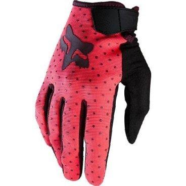 Велоперчатки женские Fox Ripley Womens Glove, неоновый красный (2016)Велоперчатки<br>Лёгкие и очень удобные перчатки, созданные специально для женских рук. Верх модели выполнен из  плотного эластичного текстиля, а ладонь отделана двойным слоем искусственной кожи Clarino. <br><br>ОСОБЕННОСТИ<br><br>Материал: текстиль, искусственная кожа<br>Силиконовые накладки на кончиках пальцев для лучшего сцепления<br>Большой палец отделан микрофиброй<br>Удобная компактная застёжка<br><br>Длина ладони<br>Размер: S (170-176 мм)<br>Размер: M (176-182 мм)<br>Размер: L (182-188 мм)<br>Размер: XL (188-194 мм)<br>