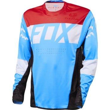 Велоджерси Fox Flexair DH LS, красно-голубойВелоджерси<br>Абсолютно новое джерси Fox Racing с длинным рукавом – результат длительной совместной работы дизайнеров и райдеров команды Fox. На протяжении всего прошлого года Джош Брайсленд, Стив Смит и другие быстрейшие гонщики команды ездили в этих джерси, и джерси показали себя более чем достойно. Данная модель выполнена из эластичной синтетической ткани, которая быстро сохнет и хорошо отводит влагу от тела, а бесшовный воротник и манжеты рукавов обеспечивают дополнительный комфорт, дабы ничто не отвлекало вас от достижения высочайших результатов.<br><br>ОСОБЕННОСТИ<br><br>    Материал: полиэстер/спандекс<br>    Самое лёгкое джерси от Fox – на 25% легче стандартных<br>    Бесшовный воротник и манжеты рукавов для максимального комфорта<br>