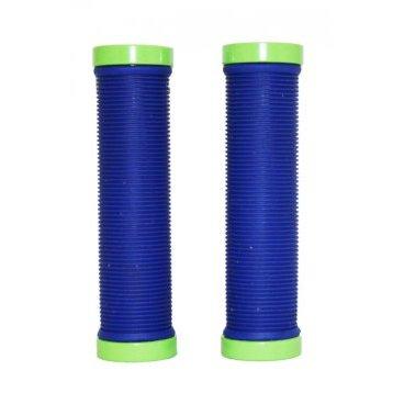 Грипсы велосипедные Vinca синие, длина 129мм, зажим зелёный,  H-G 119 blue/greenРучки и Рога<br>Грипсы синие с зажимом зелёного цвета.<br>Ребристая поверхность гарантирует хорошее сцепление руки и грипс.<br>Зажимы Vinca sport обеспечивают надёжное крепление грипс на руле.<br>Материал:алюминий и резина. <br>Размеры: длина 129мм.<br>