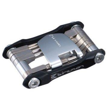 Мультитул Birzman Feexman Aluminum 12 fun Black, BM09-FM-A12-MKВелоинструменты<br>Складной набор инструментов, незаменимый в полевых условиях. Боковые пластины и корпус выжимки для цепи изготовлены из алюминия, остальные элементы – из высокопрочной стали. Лёгкий, компактный и очень надёжный набор, который прослужит не один год.<br><br>В набор входят:<br><br>Шестигранные ключи на 2, 2.5, 3, 4, 5, 6 и 8мм<br>Ключ Torx T25<br>Выжимка для цепи<br>Плоская и крестовая отвёртка<br>Монтажка для покрышек<br>