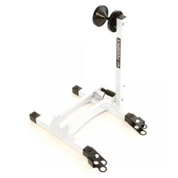 Стойка для велосипеда Feedback Rakk Bicycle Display/Storage Stand, белая, 16536Стенды для велосипедов<br>Компактная стойка для хранения и демонстрации велосипедов, идеальная для использования дома, в гараже или в веломагазине. Подпружиненный рычаг надёжно удерживает колесо велосипеда без риска поцарапать обод или спицы. Стойка очень удобна в применении – вам достаточно просто закатить велосипед в специальный паз, и рычаг автоматически зафиксирует колесо.<br><br>ОСОБЕННОСТИ<br><br>Компактная стойка для хранения и демонстрации велосипедов<br><br>Подходит для колёс диаметром от 20 до 29 дюймов и для покрышек шириной от 20мм до 2.4 дюйма<br><br>Удобна в применении<br><br>Несколько стоек можно соединить между собой<br><br>Вес: 2.7кг<br>