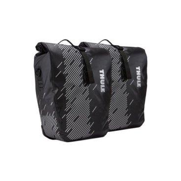Набор велосипедных сумок Thule Shield Pannier Large, 2 шт, черный, 100072Велосумки<br>Эти универсальные водонепроницаемые велосипедные сумки со сворачивающейся верхней частью защищают вещи от влаги, а светоотражающие элементы обеспечивают дополнительную безопасность при езде.<br><br>Светоотражающие элементы на сумке делают ее более заметной в темное время суток<br>Запаянные швы и сворачивающаяся верхняя часть надежно защищают содержимое от влаги и пыли в соответствии с классом защиты IP64<br>Сумки легко устанавливать и снимать благодаря удобной системе зажимов и нижнему креплению на магнитах<br>Удобная точка крепления фонаря для дополнительной безопасности при передвижении<br>Во внутренних карманах можно расположить небольшие предметы<br>Сумка имеет встроенную ручку и съемный наплечный ремень для удобной транспортировки<br><br>Размеры33 x 15.2 x 43.2 см<br>Объем24 l<br>Вес1.1 kg<br>Цветчерный <br>МатериалНейлон, пластик, сталь<br>ВодонепроницаемостьIP64<br>Номер модели100072<br>