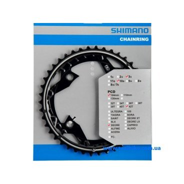 Звезда передняя Shimano DEORE FC-M610, 42T, 104 мм, алюминий, черный, Y10098020Системы<br>Сменная передняя звезда для шатунов Shimano FC-M610/T611 . Количество зубьев: 42Т. Подходит для разборных шатунов. Уровень компонента DEORE<br><br>Цвет : Черный<br><br>Количество зубьев: 42Т<br><br>Материал: Алюминий<br><br>Тип крепления: 4-лапка<br><br>Диаметр монтажа: 104 мм<br><br>Для шатунов: Shimano FC-M610/T611<br><br>Особенности:<br><br>    звезда шатунов для горных велосипедов Shimano FC-M610/T611<br>    высокая износостойкость<br>    подходит для разборных шатунов<br>    уровень компонента DEORE<br>