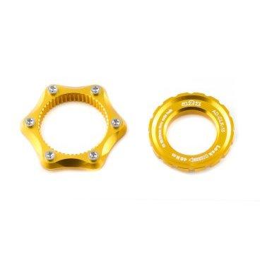 Адаптер A2Z, Center Lock - 6 болтов, замок 15/20мм, золотистый, AD-CLK 15 -6Тормоза на велосипед<br>Адаптер A2Z для установки тормозного диска под 6 болтов на втулку с креплением CenterLock (Shimano, DtSwiss).<br><br>    Увеличенная гайка-замок для втулок под вставную ось<br>    100% CNC<br>    Вес 30г<br>