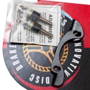Адаптер A2Z, передний PM/IS, 203мм (160мм на 203мм) черный, AD-PMF203-BLKТормоза на велосипед<br>Адаптеры для калипера A2Z необходимы для установки роторов большего диаметра для увеличения мощности торможения.<br><br>Характеристики:<br>Для вилок Manitou стандарта post mount (расстояние крепления 74 мм от центра до центра) для конвертации в IS<br>Подходит для большинства дисковых тормозных систем.<br>