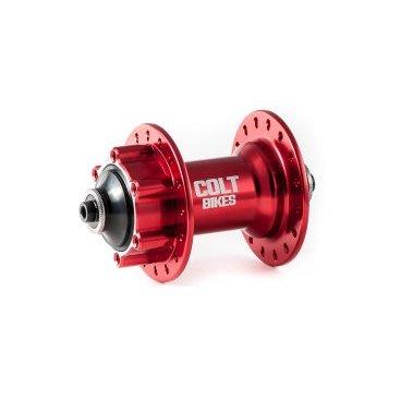 Втулка передняя ColtBikes CUP 32H QR, красный, CBHFR29232QRВтулки для велосипеда<br>Втулка передняя Colt Bikes CUP, 32 отверстия, корпус из алюминия 7075, промышленные подшипники (6805-2rs х2шт), крепление ротора 6 болтов, вес 239 грамм.<br>