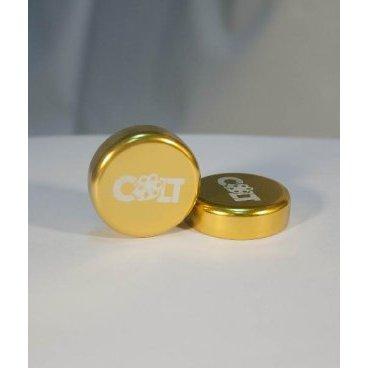 Заглушки руля Colt Lock, пара, золотой, HY-ALC-105-6Ручки и Рога<br>Разноцветные алюминиевые заглушки на руль с замком, совместимы с грипсами СOLT.<br>