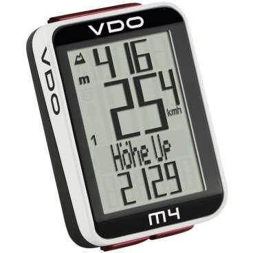 Велокомпьютер VDO M4.1, 17(+17) функций, альтметр, температура, подсветка, черный, 4-30040Велокомпьютеры<br>Универсальный проводной велокомпьютер с альтиметром, подсветкой и термометром. Удобный читаемый многострочный дисплей, функция подсветки, возможность установки на два велосипеда (раздельное ведение статистики).<br><br>Функции альтиметра<br><br>    текущая высота от точки старта (в метрах или атм.)<br>    текущий уклон<br>    общий набор высоты<br>    общий метраж в спуске<br>    максимальная высота за поездку<br>    средний угол подъема за поездку<br>    максимальный угол подъема за поездку<br>    средний угол спуска за поездку<br>    максимальный угол спуска<br>    годовой набор высоты (считает по двум велосипедам)<br><br>Функции велокомпьютера<br><br>    текущая скорость<br>    дитсанция поездки<br>    средняя скорость<br>    максимальная скорость<br>    секундомер для отрезка дистанции<br>    километраж для отрезка дистанции<br>    часы<br>    пробег раздельно двух велосипедов<br>    суммарный пробег<br>    длительность поездок для двух велосипедов<br>    общая длительность<br>    индикатор отклонения от средней зарегистрированной скорости (стрелки)<br><br><br>Прочее:<br><br>    многострочный дисплей, 7 языков DE/GB/FR/IT/ES/NL/PL<br>    индикатор заряда батареи<br>    термометр<br>    подсветка<br>    хранение информации при замене батареи<br>    раздельная память на два велосипеда<br>    автоматический режим сна<br><br>Размеры:<br><br>    3,5 x 4,5 x 1,6 см<br>    дисплей 2,4 x 3,4 см<br>    вес: 25 гр<br>