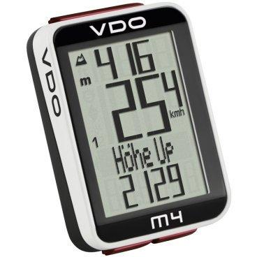 Велокомпьютер VDO M4.1WL, 17+17(+3) функций, беспроводной, альтметр, температура, подсветка, 4-30045Велокомпьютеры<br>Универсальный беспроводной велокомпьютер с альтиметром, подсветкой и термометром. Удобный читаемый многострочный дисплей, функция подсветки, возможность установки на два велосипеда (раздельное ведение статистики).<br><br>Функции альтиметра<br><br>    текущая высота от точки старта (в метрах или атм.)<br>    текущий уклон<br>    общий набор высоты<br>    общий метраж в спуске<br>    максимальная высота за поездку<br>    средний угол подъема за поездку<br>    максимальный угол подъема за поездку<br>    средний угол спуска за поездку<br>    максимальный угол спуска<br>    годовой набор высоты (считает по двум велосипедам)<br><br>Функции велокомпьютера<br><br>    текущая скорость<br>    дитсанция поездки<br>    средняя скорость<br>    максимальная скорость<br>    секундомер для отрезка дистанции<br>    километраж для отрезка дистанции<br>    часы<br>    пробег раздельно двух велосипедов<br>    суммарный пробег<br>    длительность поездок для двух велосипедов<br>    общая длительность<br>    индикатор отклонения от средней зарегистрированной скорости (стрелки)<br><br><br>Прочее:<br><br>    многострочный дисплей, 7 языков DE/GB/FR/IT/ES/NL/PL<br>    индикатор заряда батареи<br>    термометр<br>    подсветка<br>    хранение информации при замене батареи<br>    раздельная память на два велосипеда<br>    автоматический режим сна<br><br>Размеры:<br><br>    3,5 x 4,5 x 1,6 см<br>    дисплей 2,4 x 3,4 см<br>    вес: 25 гр<br>