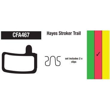 Тормозные колодки EBC Hayes Stroker Trail, красный, CFA467RТормоза на велосипед<br>Высокофриктивный компаунд этих колодок поможет вдохнуть новую жизнь в ваши тормоза. Данный тип компаунда обеспечивает более высокий коэффициент трения, нежели стандартный и может стать хорошим апгрейдом для любых тормозов, когда требуется большая тормозная мощность. Основной особенностью является низкое тепловыделение, поэтому эти колодки являются идеальным выбором для даунхилла и фрирайда.<br>