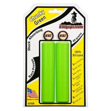 Грипсы ESI Chunky, 130 мм, силикон, зеленый, GCKG8Ручки и Рога<br>100 % силиконовые грипсы.<br>* одинаково хорошо держат в сухую и мокрую погоду<br>* принимают форму руки для лучшего обхвата<br>* смягчают вибрации<br>* легко одеваются<br>* выдерживают любые температуры<br>* устойчивы к ультрафиолету, не твердеют и не стираются<br>* легко моются<br>* идеально сочетаются с манетками GripShift <br>* диаметр после установки 32мм<br>* низкий вес 60 гр<br>