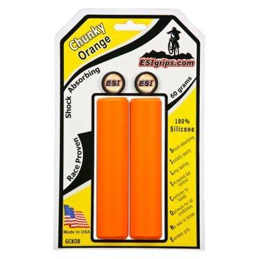 Грипсы ESI Chunky, 130 мм, силикон, оранжевый, GCKO8Ручки и Рога<br>100 % силиконовые грипсы.<br>* одинаково хорошо держат в сухую и мокрую погоду<br>* принимают форму руки для лучшего обхвата<br>* смягчают вибрации<br>* легко одеваются<br>* выдерживают любые температуры<br>* устойчивы к ультрафиолету, не твердеют и не стираются<br>* легко моются<br>* идеально сочетаются с манетками GripShift <br>* диаметр после установки 32мм<br>* низкий вес 60 гр<br>