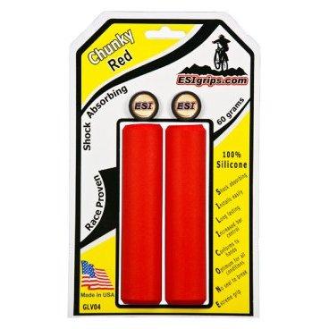 Грипсы ESI Chunky, 130 мм, силикон, красный, GLV04Ручки и Рога<br>100 % силиконовые грипсы.<br>* одинаково хорошо держат в сухую и мокрую погоду<br>* принимают форму руки для лучшего обхвата<br>* смягчают вибрации<br>* легко одеваются<br>* выдерживают любые температуры<br>* устойчивы к ультрафиолету, не твердеют и не стираются<br>* легко моются<br>* идеально сочетаются с манетками GripShift <br>* диаметр после установки 32мм<br>* низкий вес 60 гр<br>