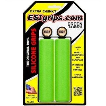 Грипсы ESI Extra Chunky, 130 мм, силикон, зеленый, XLCGNРучки и Рога<br>100 % силиконовые грипсы.<br>* одинаково хорошо держат в сухую и мокрую погоду<br>* принимают форму руки для лучшего обхвата<br>* смягчают вибрации<br>* легко одеваются<br>* выдерживают любые температуры<br>* устойчивы к ультрафиолету, не твердеют и не стираются<br>* легко моются<br>* диаметр после установки 34мм<br>* низкий вес 80 гр<br>