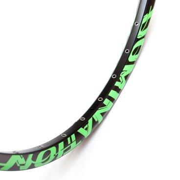 Обод Colt Bikes 27,5 584x25 DOMINATION SL 32H, черно-зеленый, 3182q32RB0GreenОбода<br>Обновленная версия популярного обода COLT Domination. Одинарное пистонирование, вес снижен на 25%. <br><br>Вес: 505г <br>ERD: 568 <br>ETRTO: 584x25C <br>Ниппель: Presta <br>Максимальное давление: 2.1 - 3,9атм / 2.4 - 2,5атм <br>Максимальный вес райдера: 100кг<br>
