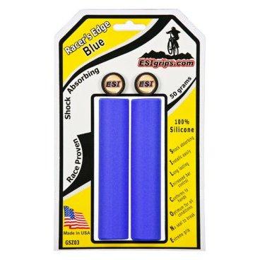 Грипсы ESI Racers Edge, 130 мм, силикон, синий, GSZ03Ручки и Рога<br>100 % силиконовые грипсы.<br>* одинаково хорошо держат в сухую и мокрую погоду<br>* принимают форму руки для лучшего обхвата<br>* смягчают вибрации<br>* легко одеваются<br>* выдерживают любые температуры<br>* устойчивы к ультрафиолету, не твердеют и не стираются<br>* легко моются<br>* диаметр после установки 30мм<br>* низкий вес 50 гр<br>
