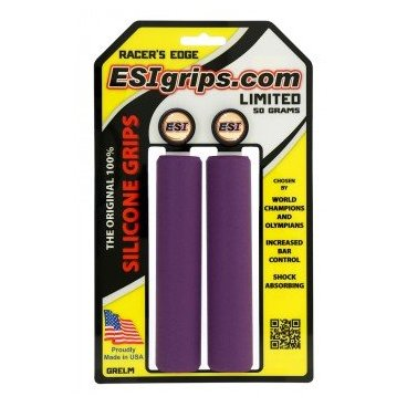 Грипсы ESI Racers Edge, 130 мм, силикон, фиолетовый, GRELMРучки и Рога<br>100 % силиконовые грипсы.<br>* одинаково хорошо держат в сухую и мокрую погоду<br>* принимают форму руки для лучшего обхвата<br>* смягчают вибрации<br>* легко одеваются<br>* выдерживают любые температуры<br>* устойчивы к ультрафиолету, не твердеют и не стираются<br>* легко моются<br>* диаметр после установки 30мм<br>* низкий вес 50 гр<br>