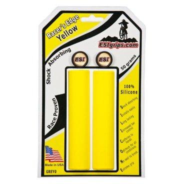 Грипсы ESI Racers Edge, 130 мм, силикон, желтый, GREY0Ручки и Рога<br>100 % силиконовые грипсы.<br>* одинаково хорошо держат в сухую и мокрую погоду<br>* принимают форму руки для лучшего обхвата<br>* смягчают вибрации<br>* легко одеваются<br>* выдерживают любые температуры<br>* устойчивы к ультрафиолету, не твердеют и не стираются<br>* легко моются<br>* диаметр после установки 30мм<br>* низкий вес 50 гр<br>