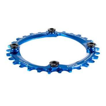 Звезда передняя A2Z NW chainring, 30T, алюминий, синий, NW-30T-104-4Системы<br>Звезда A2Z нового поколения для привода 1х10 или 1х11. Специальные профиль зубьев предотвращает слетание цепи. Теперь можно снять успокоитель снизив вес велосипеда и убрав лишнее трение в трансмиссии.<br><br>    Материал: Alloy 7075-T6<br>    CNC обработка<br>    BCD: 104мм<br>    Для 9/10/11-скоростных цепей<br>    Вес: 48г (32t)<br>    В комплекте алюминиевые бонки<br>