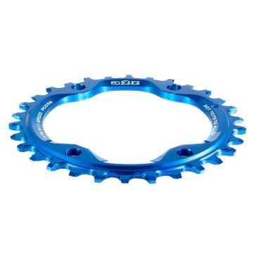 Звезда передняя A2Z NW chainring, 30T, алюминий, синий, NW-30T-96-4Системы<br>Описание Звезда A2Z нового поколения для привода 1х10 или 1х11. Специальные профиль зубьев предотвращает слетание цепи. Теперь можно снять успокоитель снизив вес велосипеда и убрав лишнее трение в трансмиссии. <br><br>Характеристики:<br>Материал: Alloy 7075-T6 <br>CNC обработка<br>BCD: 96мм<br>Для 9/10/11-скоростных цепей<br>Вес: 48г (32t)<br>