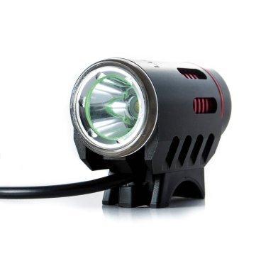 Фонарь передний Lumen 300, 1800 lumen\1200 lumen, Cree XM-L2, черно-красный, EBL300Фары и фонари для велосипеда<br>Компактная фара с ярким диодом и дополнительным светом для движения в дневное время. Выносной аккумулятор, в комплекте крепление на руль и на голову. <br><br>Тип диода: Cree xm-l L2 led <br>Яркость: 1200 Lumen<br>Водонепроницаемый IP65 <br>Режимы работы: основной диод: яркий, средний, минимальный; дополнительный свет: постоянный свет, стробоскоп <br>Алюминиевый теплоотводящий корпус<br>Устойчивое к царапинам закаленное стекло<br>Зарядка 100В-240В с индикатором зарядки<br>Входящее напряжение 8,4V DC<br>Батарейный блок 8.4v 4800mah li-ion battery <br>Вес: 76г. - фонарь, 200г. - аккумулятор <br>Время работы: до 3 часов на максимальной яркости, до 30 часов в режиме сторобоскопа <br>Время зарядки: ~5 часов <br>Индикатор низкого зарядка аккумулятора <br>Защита от перезаряда <br>Комплект: 1х фара, 1х аккумулятор, 1х зарядка от сети 100-240В, 2х крепежных элемента на руль, 1х крепление на голову<br>