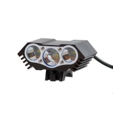 Фонарь передний Lumen 303-X, 3600 lumens, 3 Cree XML-T6 черный, EBL303XФары и фонари для велосипеда<br>Три светодиода в одном корпусе это изящное увеличение яркости и наполненности светового пятна. Влагозащитный корпус позволяет пользоваться фонарем в дождливую погоду. <br>В комплекте: фонарь, аккумулятор, зарядное устройство, крепление на руль, крепление на голову. <br><br>Основные характеристики <br>Яркость: 3600лм <br>Вес: 130г <br>Мощность: 30W <br>Время работы: 2-2,5ч (в режиме полной яркости) <br>Влагозащита: IP65 <br><br>Технические параметры <br>Тип диода: 3x Cree XM-L T6 (max 30W) <br>Режимы работы: яркий (100%), средний (50%), минимальный (20%), стробоскоп (10%, долгое нажатие) <br>Корпус: alloy с ребрами для лучшего отвода тепла <br>Отражатель: alloy <br>Стекло: закаленное, устойчивое к царапинам <br>Зарядка: от сети 100-240В с индикатором заряда (output 8,4V 1A) <br>Время зарядки: 5 часов <br>Входящее напряжение: 8,4V DC <br>Аккумулятор: 4x18650 (4800mAh)<br>