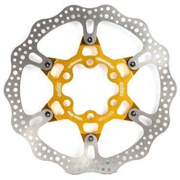 Тормозной диск A2Z ATD, 140 мм, 6 болтов, золотистый, ATD-140-6Тормоза на велосипед<br>Тормозной диск A2Z ATD сделан из двух частей для уменьшения веса и более эффективного охлаждения. Центральная часть ввполнена из алюминия 7075T6 с CNC обработкой предотвращает деформацию диска при перегреве.<br><br>Характеристики:<br> - Паук из сплава 7075 T6<br> - Крепление IS 6 болтов<br>
