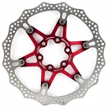 Тормозной диск A2Z ATD, 160 мм, 6 болтов, красный, ATD-160-3Тормоза на велосипед<br>Тормозной диск A2Z ATD сделан из двух частей для уменьшения веса и более эффективного охлаждения. Центральная часть ввполнена из алюминия 7075T6 с CNC обработкой предотвращает деформацию диска при перегреве.<br><br>Характеристики:<br> - Паук из сплава 7075 T6<br> - Крепление IS 6 болтов<br>