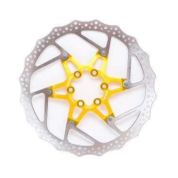 Тормозной диск A2Z ATD, 180 мм, 6 болтов, золотистый, ATD-180-6Тормоза на велосипед<br>Тормозной диск A2Z ATD сделан из двух частей для уменьшения веса и более эффективного охлаждения. Центральная часть ввполнена из алюминия 7075T6 с CNC обработкой предотвращает деформацию диска при перегреве.<br><br>Характеристики:<br> - Паук из сплава 7075 T6<br> - Крепление IS 6 болтов<br> - Вес: 180 гр<br>