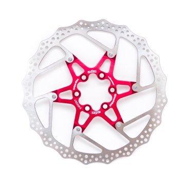 Тормозной диск A2Z ATD, 180 мм, 6 болтов, красный, ATD-180-3Тормоза на велосипед<br>Тормозной диск A2Z ATD сделан из двух частей для уменьшения веса и более эффективного охлаждения. Центральная часть ввполнена из алюминия 7075T6 с CNC обработкой предотвращает деформацию диска при перегреве.<br><br>Характеристики:<br> - Паук из сплава 7075 T6<br> - Крепление IS 6 болтов<br>