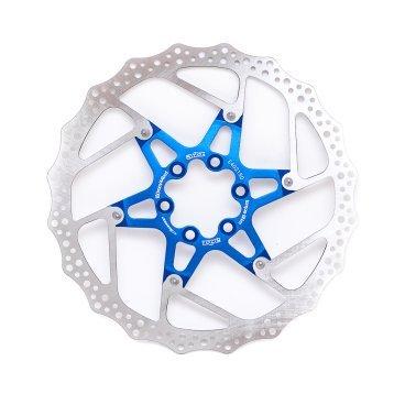 Тормозной диск A2Z ATD, 180 мм, 6 болтов, синий, ATD-180-4Тормоза на велосипед<br>Тормозной диск A2Z ATD сделан из двух частей для уменьшения веса и более эффективного охлаждения. Центральная часть ввполнена из алюминия 7075T6 с CNC обработкой предотвращает деформацию диска при перегреве.<br><br>Характеристики:<br> - Паук из сплава 7075 T6<br> - Крепление IS 6 болтов<br>