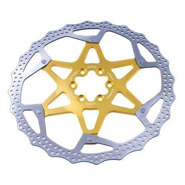 Тормозной диск A2Z ATD, 203 мм, 6 болтов, золотистый, ATD-203-6Тормоза на велосипед<br>Тормозной диск A2Z ATD сделан из двух частей для уменьшения веса и более эффективного охлаждения. Центральная часть ввполнена из алюминия 7075T6 с CNC обработкой предотвращает деформацию диска при перегреве.<br><br>Характеристики:<br> - Паук из сплава 7075 T6<br> - Крепление IS 6 болтов<br>