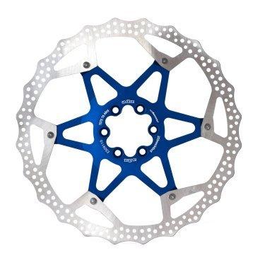 Тормозной диск A2Z ATD, 203 мм, 6 болтов, синий, ATD-203-4Тормоза на велосипед<br>Тормозной диск A2Z ATD сделан из двух частей для уменьшения веса и более эффективного охлаждения. Центральная часть ввполнена из алюминия 7075T6 с CNC обработкой предотвращает деформацию диска при перегреве.<br><br>Характеристики:<br> - Паук из сплава 7075 T6<br> - Крепление IS 6 болтов<br>