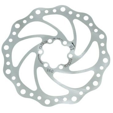 Тормозной диск A2Z SP4, 160 мм, 6 болтов, сталь, SP4-160Тормоза на велосипед<br>Тормозной диск из прочной нержавеющей стали. Крепление на 6 болтов<br>