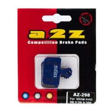 Тормозные колодки A2Z Avid DB1, синий, AZ-298Тормоза на велосипед<br>A2Z - небольшой тайваньский завод по производству велосипедных запчастей, специализируется на выпуске высококачественных компонентов, легких втулок, тормозных дисков, титановых эксцентриков и других деталей.<br><br>    Превосходные тормозные свойства колодок уменьшают тормозной путь<br>    Высокоэффективный состав увеличивает мощность при любых погодных условиях<br>    Все тормозные колодки A2Z сделаны из органических соединений и не содержат асбеста<br><br>Виды тормозных колодок A2Z:<br>- Blue (organic) - высокоэффективные органические колодки, на 110%* выше мощность и на 150%* дольше срок службы<br><br>*по сравнению со стоковыми колодками<br>