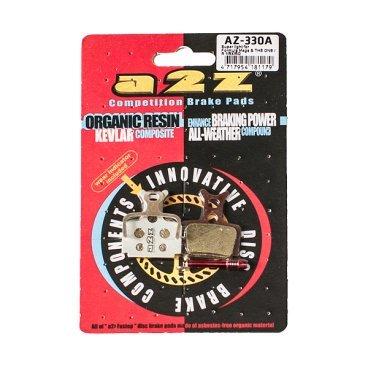 Тормозные колодки A2Z Formula Mega &amp; THE ONE, R1/RX/RO, серебристый, AZ-330AТормоза на велосипед<br>A2Z - небольшой тайваньский завод по производству велосипедных запчастей, специализируется на выпуске высококачественных компонентов, легких втулок, тормозных дисков, титановых эксцентриков и других деталей.<br><br>    Превосходные тормозные свойства колодок уменьшают тормозной путь<br>    Высокоэффективный состав увеличивает мощность при любых погодных условиях<br>    Все тормозные колодки A2Z сделаны из органических соединений и не содержат асбеста<br><br>Виды тормозных колодок A2Z:<br>- Blue (organic) - высокоэффективные органические колодки, на 110%* выше мощность и на 150%* дольше срок службы<br>- Silver (organic) - высокоэффективные органические колодки на алюминиевой подложке, легче колодок Blue на 50%<br>- Gold (Sintered) - высокоэффективные метализированные колодки, служат на 300%* больше<br><br>*по сравнению со стоковыми колодками<br>
