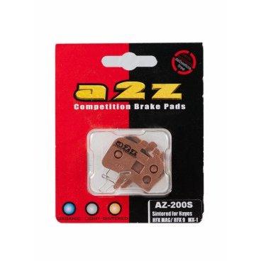 Тормозные колодки A2Z Hayes HFX MAG/ HFX 9/ MX1, золотистый, AZ-200SТормоза на велосипед<br>A2Z - небольшой тайваньский завод по производству велосипедных запчастей, специализируется на выпуске высококачественных компонентов, легких втулок, тормозных дисков, титановых эксцентриков и других деталей.<br><br>    Превосходные тормозные свойства колодок уменьшают тормозной путь<br>    Высокоэффективный состав увеличивает мощность при любых погодных условиях<br>    Все тормозные колодки A2Z сделаны из органических соединений и не содержат асбеста<br><br>Виды тормозных колодок A2Z:<br>- Blue (organic) - высокоэффективные органические колодки, на 110%* выше мощность и на 150%* дольше срок службы<br>- Silver (organic) - высокоэффективные органические колодки на алюминиевой подложке, легче колодок Blue на 50%<br>- Gold (Sintered) - высокоэффективные метализированные колодки, служат на 300%* больше<br><br>*по сравнению со стоковыми колодками<br>
