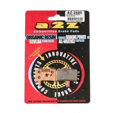 Тормозные колодки A2Z Hayes Stroker Trail, золотистый, AZ-250SТормоза на велосипед<br>A2Z - небольшой тайваньский завод по производству велосипедных запчастей, специализируется на выпуске высококачественных компонентов, легких втулок, тормозных дисков, титановых эксцентриков и других деталей.<br><br>    Превосходные тормозные свойства колодок уменьшают тормозной путь<br>    Высокоэффективный состав увеличивает мощность при любых погодных условиях<br>    Все тормозные колодки A2Z сделаны из органических соединений и не содержат асбеста<br><br>Виды тормозных колодок A2Z:<br>- Blue (organic) - высокоэффективные органические колодки, на 110%* выше мощность и на 150%* дольше срок службы<br>- Silver (organic) - высокоэффективные органические колодки на алюминиевой подложке, легче колодок Blue на 50%<br>- Gold (Sintered) - высокоэффективные метализированные колодки, служат на 300%* больше<br><br>*по сравнению со стоковыми колодками<br>