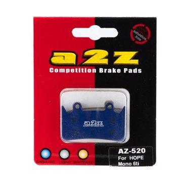 Тормозные колодки A2Z Hope Mono 6ti, синий, AZ-520Тормоза на велосипед<br>A2Z - небольшой тайваньский завод по производству велосипедных запчастей, специализируется на выпуске высококачественных компонентов, легких втулок, тормозных дисков, титановых эксцентриков и других деталей.<br><br>    Превосходные тормозные свойства колодок уменьшают тормозной путь<br>    Высокоэффективный состав увеличивает мощность при любых погодных условиях<br>    Все тормозные колодки A2Z сделаны из органических соединений и не содержат асбеста<br><br>Виды тормозных колодок A2Z:<br>- Blue (organic) - высокоэффективные органические колодки, на 110%* выше мощность и на 150%* дольше срок службы<br>- Silver (organic) - высокоэффективные органические колодки на алюминиевой подложке, легче колодок Blue на 50%<br>- Gold (Sintered) - высокоэффективные метализированные колодки, служат на 300%* больше<br><br>*по сравнению со стоковыми колодками<br>