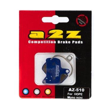 Тормозные колодки A2Z Hope Mono mini, синий, AZ-510Тормоза на велосипед<br>A2Z - небольшой тайваньский завод по производству велосипедных запчастей, специализируется на выпуске высококачественных компонентов, легких втулок, тормозных дисков, титановых эксцентриков и других деталей.<br><br>    Превосходные тормозные свойства колодок уменьшают тормозной путь<br>    Высокоэффективный состав увеличивает мощность при любых погодных условиях<br>    Все тормозные колодки A2Z сделаны из органических соединений и не содержат асбеста<br><br>Виды тормозных колодок A2Z:<br>- Blue (organic) - высокоэффективные органические колодки, на 110%* выше мощность и на 150%* дольше срок службы<br>- Silver (organic) - высокоэффективные органические колодки на алюминиевой подложке, легче колодок Blue на 50%<br>- Gold (Sintered) - высокоэффективные метализированные колодки, служат на 300%* больше<br><br>*по сравнению со стоковыми колодками<br>