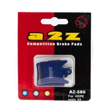 Тормозные колодки A2Z Hope moto V2, синий, AZ-580Тормоза на велосипед<br>A2Z - небольшой тайваньский завод по производству велосипедных запчастей, специализируется на выпуске высококачественных компонентов, легких втулок, тормозных дисков, титановых эксцентриков и других деталей.<br><br>    Превосходные тормозные свойства колодок уменьшают тормозной путь<br>    Высокоэффективный состав увеличивает мощность при любых погодных условиях<br>    Все тормозные колодки A2Z сделаны из органических соединений и не содержат асбеста<br><br>Виды тормозных колодок A2Z:<br>- Blue (organic) - высокоэффективные органические колодки, на 110%* выше мощность и на 150%* дольше срок службы<br>- Silver (organic) - высокоэффективные органические колодки на алюминиевой подложке, легче колодок Blue на 50%<br>- Gold (Sintered) - высокоэффективные метализированные колодки, служат на 300%* больше<br><br>*по сравнению со стоковыми колодками<br>