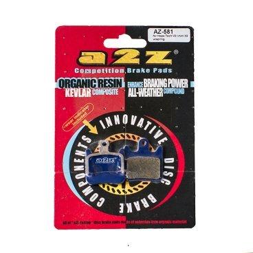 Тормозные колодки A2Z Hope Tech V2/ mini X2, синий, AZ-581Тормоза на велосипед<br>A2Z - небольшой тайваньский завод по производству велосипедных запчастей, специализируется на выпуске высококачественных компонентов, легких втулок, тормозных дисков, титановых эксцентриков и других деталей.<br><br>    Превосходные тормозные свойства колодок уменьшают тормозной путь<br>    Высокоэффективный состав увеличивает мощность при любых погодных условиях<br>    Все тормозные колодки A2Z сделаны из органических соединений и не содержат асбеста<br><br>Виды тормозных колодок A2Z:<br>- Blue (organic) - высокоэффективные органические колодки, на 110%* выше мощность и на 150%* дольше срок службы<br>- Silver (organic) - высокоэффективные органические колодки на алюминиевой подложке, легче колодок Blue на 50%<br>- Gold (Sintered) - высокоэффективные метализированные колодки, служат на 300%* больше<br><br>*по сравнению со стоковыми колодками<br>