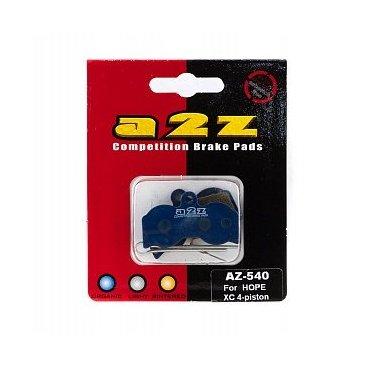 Тормозные колодки A2Z Hope XC 4-piston, синий, AZ-540Тормоза на велосипед<br>A2Z - небольшой тайваньский завод по производству велосипедных запчастей, специализируется на выпуске высококачественных компонентов, легких втулок, тормозных дисков, титановых эксцентриков и других деталей.<br><br>    Превосходные тормозные свойства колодок уменьшают тормозной путь<br>    Высокоэффективный состав увеличивает мощность при любых погодных условиях<br>    Все тормозные колодки A2Z сделаны из органических соединений и не содержат асбеста<br><br>Виды тормозных колодок A2Z:<br>- Blue (organic) - высокоэффективные органические колодки, на 110%* выше мощность и на 150%* дольше срок службы<br>- Silver (organic) - высокоэффективные органические колодки на алюминиевой подложке, легче колодок Blue на 50%<br>- Gold (Sintered) - высокоэффективные метализированные колодки, служат на 300%* больше<br><br>*по сравнению со стоковыми колодками<br>