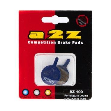 Тормозные колодки A2Z Magura Louise / Clara  2000, синий, AZ-100Тормоза на велосипед<br>A2Z - небольшой тайваньский завод по производству велосипедных запчастей, специализируется на выпуске высококачественных компонентов, легких втулок, тормозных дисков, титановых эксцентриков и других деталей.<br><br>    Превосходные тормозные свойства колодок уменьшают тормозной путь<br>    Высокоэффективный состав увеличивает мощность при любых погодных условиях<br>    Все тормозные колодки A2Z сделаны из органических соединений и не содержат асбеста<br><br>Виды тормозных колодок A2Z:<br>- Blue (organic) - высокоэффективные органические колодки, на 110%* выше мощность и на 150%* дольше срок службы<br>- Silver (organic) - высокоэффективные органические колодки на алюминиевой подложке, легче колодок Blue на 50%<br>- Gold (Sintered) - высокоэффективные метализированные колодки, служат на 300%* больше<br><br>*по сравнению со стоковыми колодками<br>