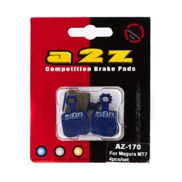 Тормозные колодки A2Z Magura MT7 4pcs/set, синий, AZ-170Тормоза на велосипед<br>A2Z - небольшой тайваньский завод по производству велосипедных запчастей, специализируется на выпуске высококачественных компонентов, легких втулок, тормозных дисков, титановых эксцентриков и других деталей.<br><br>    Превосходные тормозные свойства колодок уменьшают тормозной путь<br>    Высокоэффективный состав увеличивает мощность при любых погодных условиях<br>    Все тормозные колодки A2Z сделаны из органических соединений и не содержат асбеста<br><br>Виды тормозных колодок A2Z:<br>- Blue (organic) - высокоэффективные органические колодки, на 110%* выше мощность и на 150%* дольше срок службы<br>- Silver (organic) - высокоэффективные органические колодки на алюминиевой подложке, легче колодок Blue на 50%<br>- Gold (Sintered) - высокоэффективные метализированные колодки, служат на 300%* больше<br><br>*по сравнению со стоковыми колодками<br>