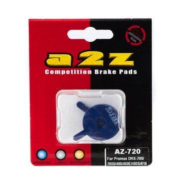 Тормозные колодки A2Z Promax DKS-200/200S/400/400E/400S/610, синий, AZ-720Тормоза на велосипед<br>A2Z - небольшой тайваньский завод по производству велосипедных запчастей, специализируется на выпуске высококачественных компонентов, легких втулок, тормозных дисков, титановых эксцентриков и других деталей.<br><br>    Превосходные тормозные свойства колодок уменьшают тормозной путь<br>    Высокоэффективный состав увеличивает мощность при любых погодных условиях<br>    Все тормозные колодки A2Z сделаны из органических соединений и не содержат асбеста<br><br>Виды тормозных колодок A2Z:<br>- Blue (organic) - высокоэффективные органические колодки, на 110%* выше мощность и на 150%* дольше срок службы<br>- Silver (organic) - высокоэффективные органические колодки на алюминиевой подложке, легче колодок Blue на 50%<br>- Gold (Sintered) - высокоэффективные метализированные колодки, служат на 300%* больше<br>