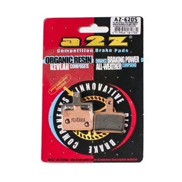 Тормозные колодки A2Z Shimano Deore BR-M515/475/501/601/465/475/495/Tektro, золотистый, AZ-620SТормоза на велосипед<br>A2Z - небольшой тайваньский завод по производству велосипедных запчастей, специализируется на выпуске высококачественных компонентов, легких втулок, тормозных дисков, титановых эксцентриков и других деталей.<br><br>    Превосходные тормозные свойства колодок уменьшают тормозной путь<br>    Высокоэффективный состав увеличивает мощность при любых погодных условиях<br>    Все тормозные колодки A2Z сделаны из органических соединений и не содержат асбеста<br><br>Виды тормозных колодок A2Z:<br>- Blue (organic) - высокоэффективные органические колодки, на 110%* выше мощность и на 150%* дольше срок службы<br>- Silver (organic) - высокоэффективные органические колодки на алюминиевой подложке, легче колодок Blue на 50%<br>- Gold (Sintered) - высокоэффективные метализированные колодки, служат на 300%* больше<br><br>*по сравнению со стоковыми колодками<br>