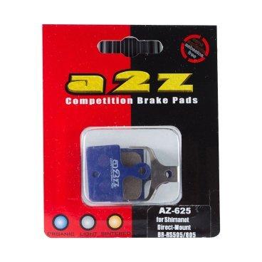 Тормозные колодки A2Z Shimano Direct-Mount R9170/U5000/RS805/505/R405F/R405R/RS305R, синий, AZ-625Тормоза на велосипед<br>A2Z - небольшой тайваньский завод по производству велосипедных запчастей, специализируется на выпуске высококачественных компонентов, легких втулок, тормозных дисков, титановых эксцентриков и других деталей.<br><br>    Превосходные тормозные свойства колодок уменьшают тормозной путь<br>    Высокоэффективный состав увеличивает мощность при любых погодных условиях<br>    Все тормозные колодки A2Z сделаны из органических соединений и не содержат асбеста<br><br>Виды тормозных колодок A2Z:<br>- Blue (organic) - высокоэффективные органические колодки, на 110%* выше мощность и на 150%* дольше срок службы<br>- Silver (organic) - высокоэффективные органические колодки на алюминиевой подложке, легче колодок Blue на 50%<br>- Gold (Sintered) - высокоэффективные метализированные колодки, служат на 300%* больше<br><br>*по сравнению со стоковыми колодками<br>