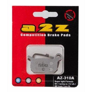 Тормозные колодки A2Z Super light for Formula 4 Racing XC/ FR/DH &amp; BR Team/Pro/SL, AZ-310AТормоза на велосипед<br>A2Z - небольшой тайваньский завод по производству велосипедных запчастей, специализируется на выпуске высококачественных компонентов, легких втулок, тормозных дисков, титановых эксцентриков и других деталей.<br><br>    Превосходные тормозные свойства колодок уменьшают тормозной путь<br>    Высокоэффективный состав увеличивает мощность при любых погодных условиях<br>    Все тормозные колодки A2Z сделаны из органических соединений и не содержат асбеста<br><br>Виды тормозных колодок A2Z:<br>- Blue (organic) - высокоэффективные органические колодки, на 110%* выше мощность и на 150%* дольше срок службы<br>- Silver (organic) - высокоэффективные органические колодки на алюминиевой подложке, легче колодок Blue на 50%<br>- Gold (Sintered) - высокоэффективные метализированные колодки, служат на 300%* больше<br><br>*по сравнению со стоковыми колодками<br>