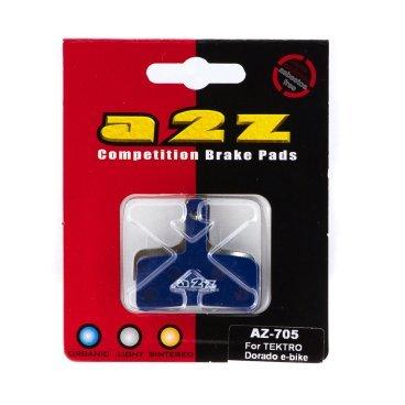Тормозные колодки A2Z Tektro Dorado e-bike, синий, AZ-705Тормоза на велосипед<br>A2Z - небольшой тайваньский завод по производству велосипедных запчастей, специализируется на выпуске высококачественных компонентов, легких втулок, тормозных дисков, титановых эксцентриков и других деталей.<br><br>    Превосходные тормозные свойства колодок уменьшают тормозной путь<br>    Высокоэффективный состав увеличивает мощность при любых погодных условиях<br>    Все тормозные колодки A2Z сделаны из органических соединений и не содержат асбеста<br><br>Виды тормозных колодок A2Z:<br>- Blue (organic) - высокоэффективные органические колодки, на 110%* выше мощность и на 150%* дольше срок службы<br>- Silver (organic) - высокоэффективные органические колодки на алюминиевой подложке, легче колодок Blue на 50%<br>- Gold (Sintered) - высокоэффективные метализированные колодки, служат на 300%* больше<br><br>*по сравнению со стоковыми колодками<br>